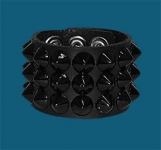 3-Row Black Cone Wristband
