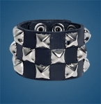 3-Row Pyramid Checkered Wristband