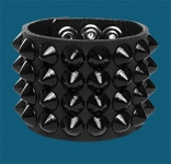4-Row Black Cone Wristband