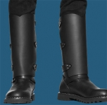Plain Black Leather Shin Guards