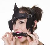 Pony Girl Handmade Black Leather Head-Dress