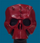Oxblood Horned Mohawk Leather Skull Mask