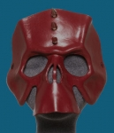 Oxblood Leather Skull Mask w/Spiked Mohawk
