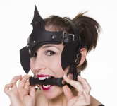 Pony Girl Handmade Black Leather Head-Dress