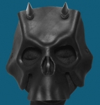 Black Horned Leather Skull Mask