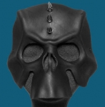 Black Leather Skull Mask w/Spiked Mohawk