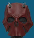 Oxblood Horned Leather Skull Mask